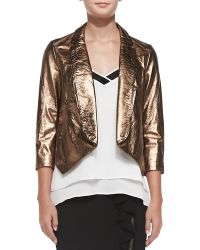 Rebecca Minkoff Ace Metallic Cropped Leather Jacket - Lyst