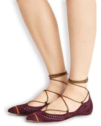 Daniele Michetti | Plum Lace-up Suede Flats | Lyst