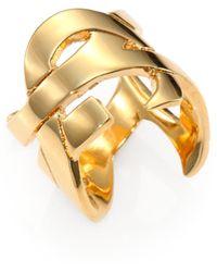 Saint Laurent Monogramme Signature Ring/Goldtone - Lyst