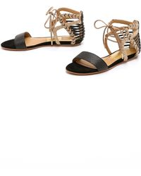 Dolce Vita Ashtyn Flat Sandals - Black/Gold - Lyst