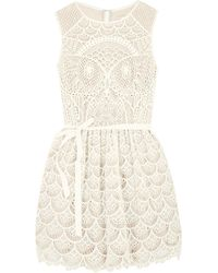 RED Valentino Cream Lace Dress - Lyst
