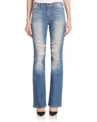 Joe's Jeans Distressed High-Rise Flared Jeans blue - Lyst