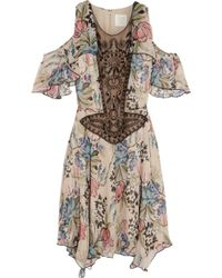 Anna Sui Floralprint Silkchiffon and Embellished Tulle Mini Dress - Lyst