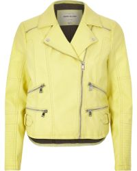 River Island Light Yellow Leather-Look Zip Biker Jacket - Lyst