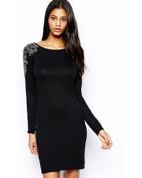 Tfnc Bodycon Dress with Placement Beadwork - Lyst