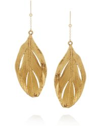 Aurelie Bidermann Golddipped Feather Earrings - Lyst