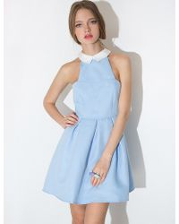 Pixie Market Powder Blue Collar Flared Dress blue - Lyst