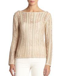 Ralph Lauren Black Label Ribbon-Crochet Sweater - Lyst