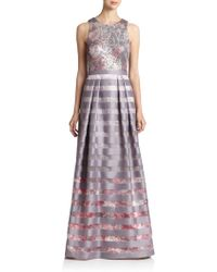 Kay Unger Sequin-Top Striped Floral Gown - Lyst