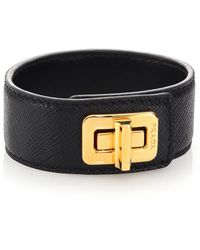 Prada | Saffiano Leather Turnlock Bracelet | Lyst