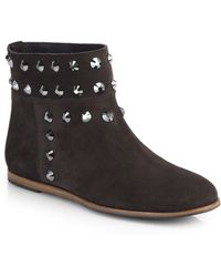 Pedro Garcia Studded Suede Ankle Boots - Lyst