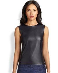Akris Punto Faux Leather & Jersey Sleeveless Top - Lyst