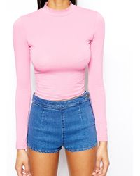 Asos Crop Top with Long Sleeves and Turtle Neck - Lyst