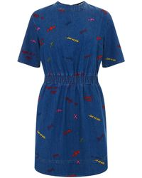House Of Holland Embroidered Denim Dress - Lyst