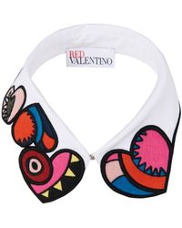 RED Valentino - Heart-Embroidered Cotton Collar - Lyst