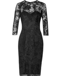Lela Rose Black Lace Dress - Lyst