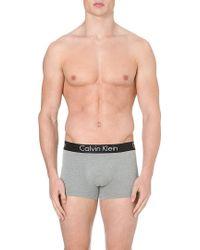 Calvin Klein Contrastwaistband Trunks Grey - Lyst
