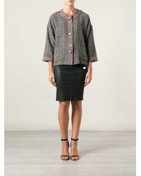 Erika Cavallini Semi Couture Checked Multi Button Cape - Lyst