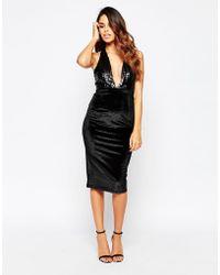 Club L | Sequin Halteneck Dress With Velvet Skirt | Lyst