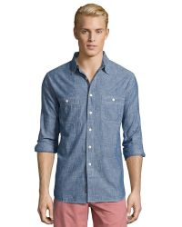 Grayers Japanese Blue Selvedge Chambray Button Front Top - Lyst
