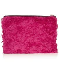 House of Holland - The Bag Of Tricks Shearling and Calf Hair Clutch - Lyst