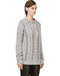 Pierre Balmain Gray Cableknit Sweater - Lyst