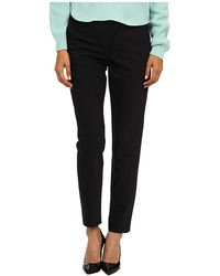 Tibi Tropical Wool Wrap Over Combo Pants W Leather Yoke Back Ankle Zip - Lyst