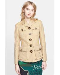 Burberry Prorsum Cotton Blend Twill Peplum Jacket beige - Lyst