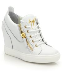 Giuseppe Zanotti | Leather High-top Zip Wedge Sneakers | Lyst