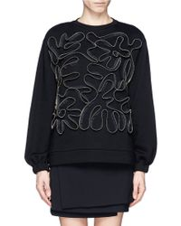 Stella McCartney Squiggle Zip Front Sweatshirt - Lyst