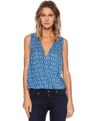 Velvet By Graham & Spencer Printed Challis Zita Drape Tank - Lyst