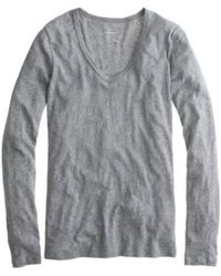 J.Crew Petite Vintage Cotton Long-Sleeve Scoopneck Tee - Lyst