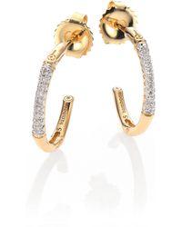 John Hardy Bamboo Diamond & 18K Yellow Gold Hoop Earrings/0.6 - Lyst