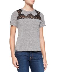 Rebecca Taylor Laceinset Shortsleeve Top Panther Xsmall - Lyst