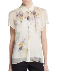 Giambattista Valli Floral-Print Silk Blouse - Lyst