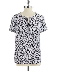 Jones New York - Floral Split Neck Top - Lyst
