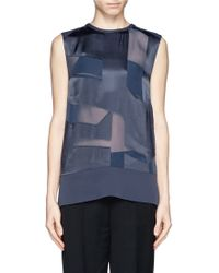 Helmut Lang Sheer Burnout Satin Top - Lyst