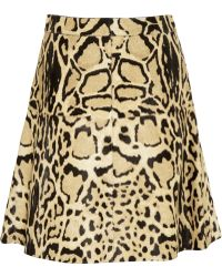 Gucci Leopard Print Calf Hair Skirt - Lyst