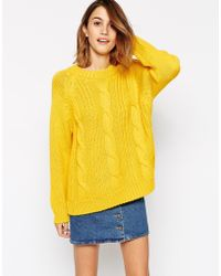 Ganni Long Sleeve Cable Knit Sweater - Lyst