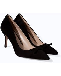 Zara High Heel Leather Court Shoe with Pointed Toe - Lyst