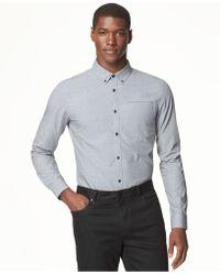 Calvin Klein Micro Checked Cross Dobby Shirt - Lyst