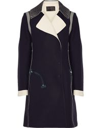 Calvin Klein - Birkhoff Leather-Trimmed Crepe Coat - Lyst
