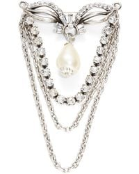 Gerard Yosca - Embellished Chain And Faux Pearl Brooch - Lyst