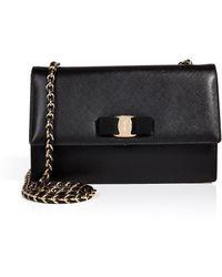 Ferragamo Leather Twotone Ginny Crossbody Bag - Lyst