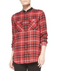 Vince Leathertrim Plaid Shirt - Lyst