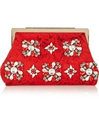 Dolce   Gabbana - Sara Crystal-Embellished Lace And Satin Clutch - Lyst b16d4d40cf194