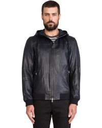 Vince Hooded Leather Jacket - Lyst