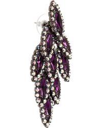 Elizabeth Cole Bacall Gunmetal-tone Amethyst and Swarovski Crystal Earrings - Lyst