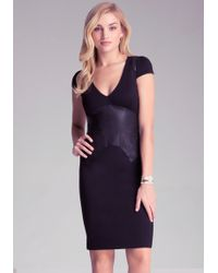 Bebe Leather Corset Ponte Dress - Lyst