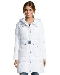 Laundry by Shelli Segal White Quilted Down Belted Faux Fur Trim Coat - Lyst